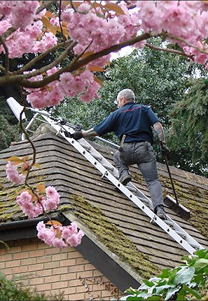 Our staff cleaning the moss from a roof in Southbourne near Bournemouth
